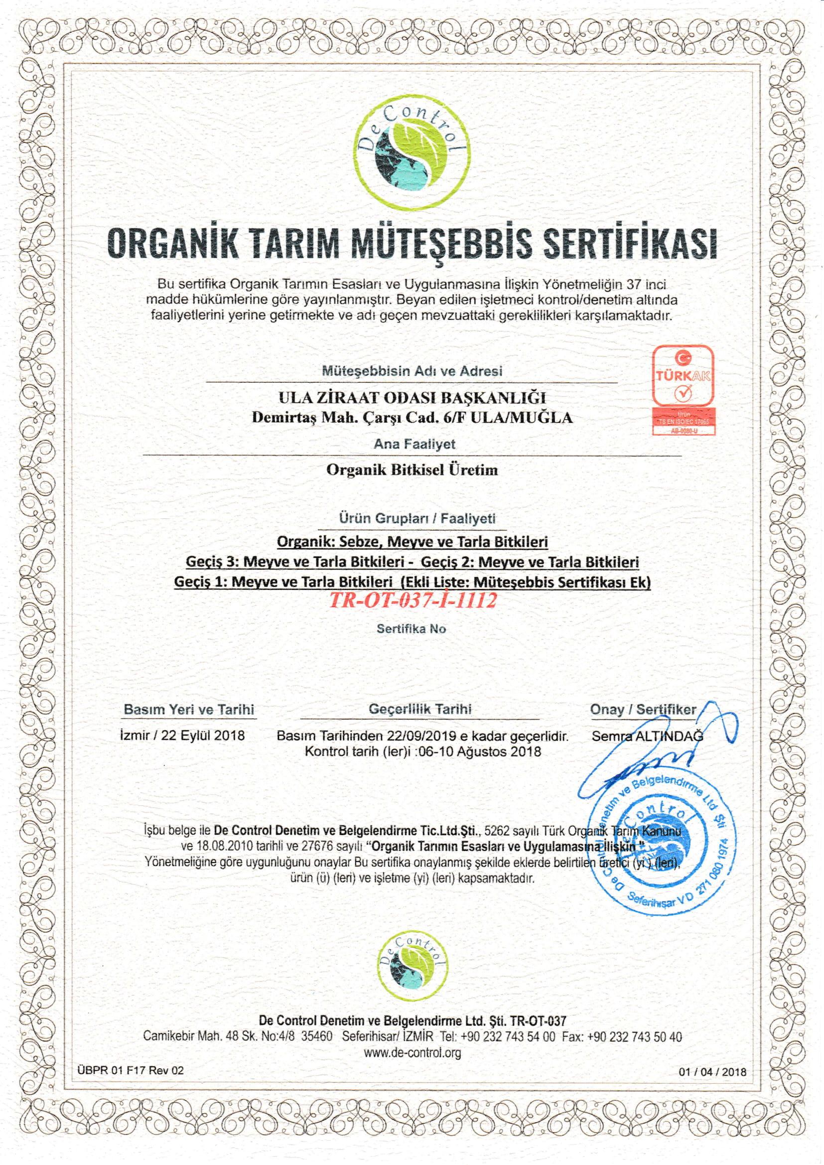 Organik Tarım Müteşebbis Sertifikası