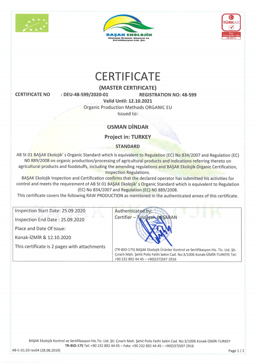 Organic Production Methods Certificate